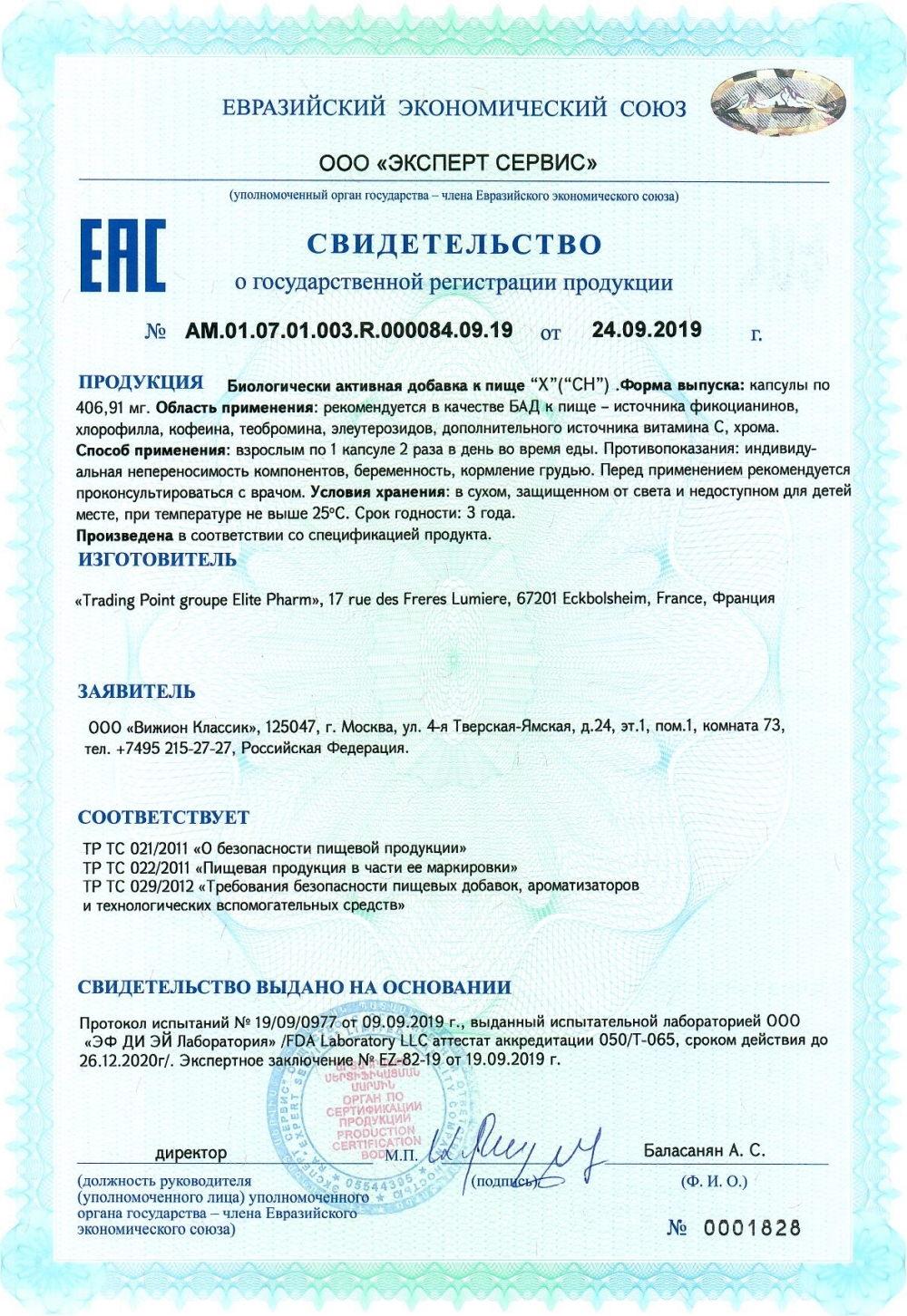 CH projectV svidetelstvo o gosudarstvennoy registracii