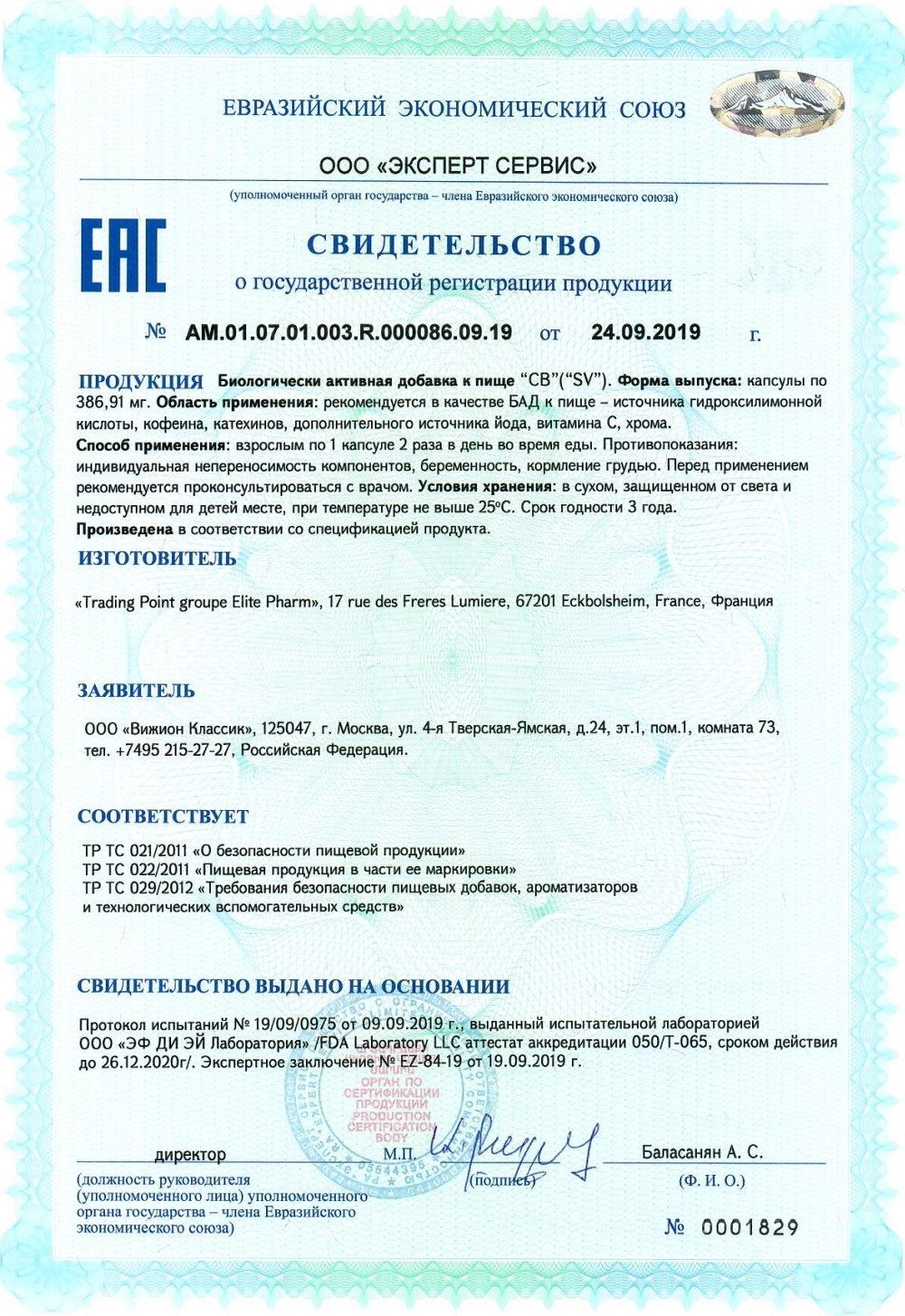 SV projectV svidetelstvo o gosudarstvennoy registracii